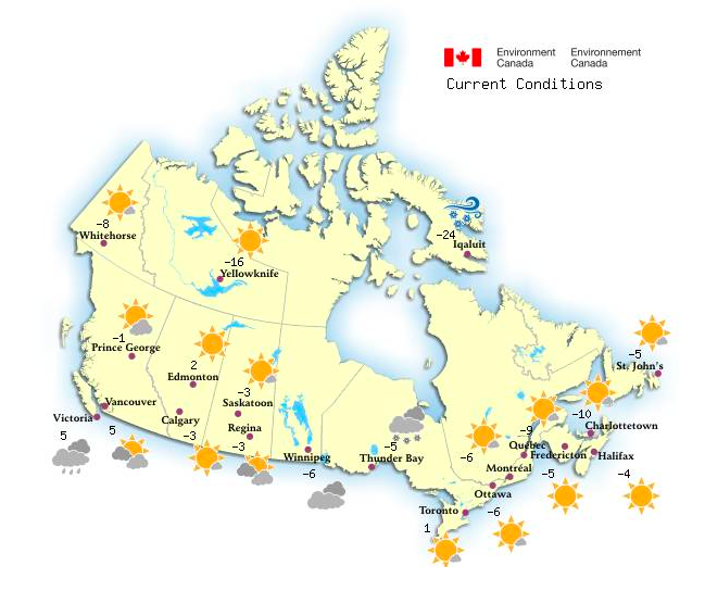 The weather across Canada on the morning of the 18th March 2014. Source: Government of Canada