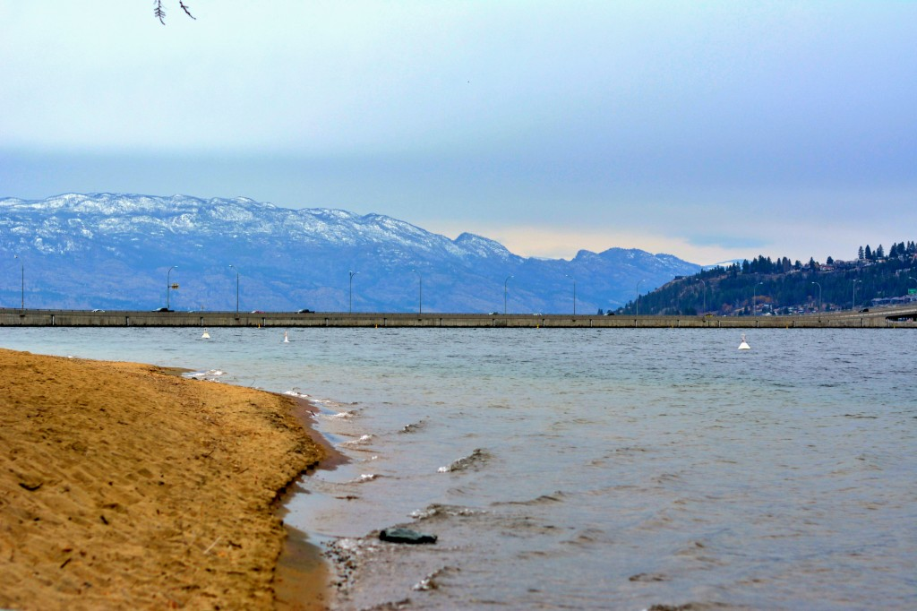 A beach on the East side of Lake Okanagan.