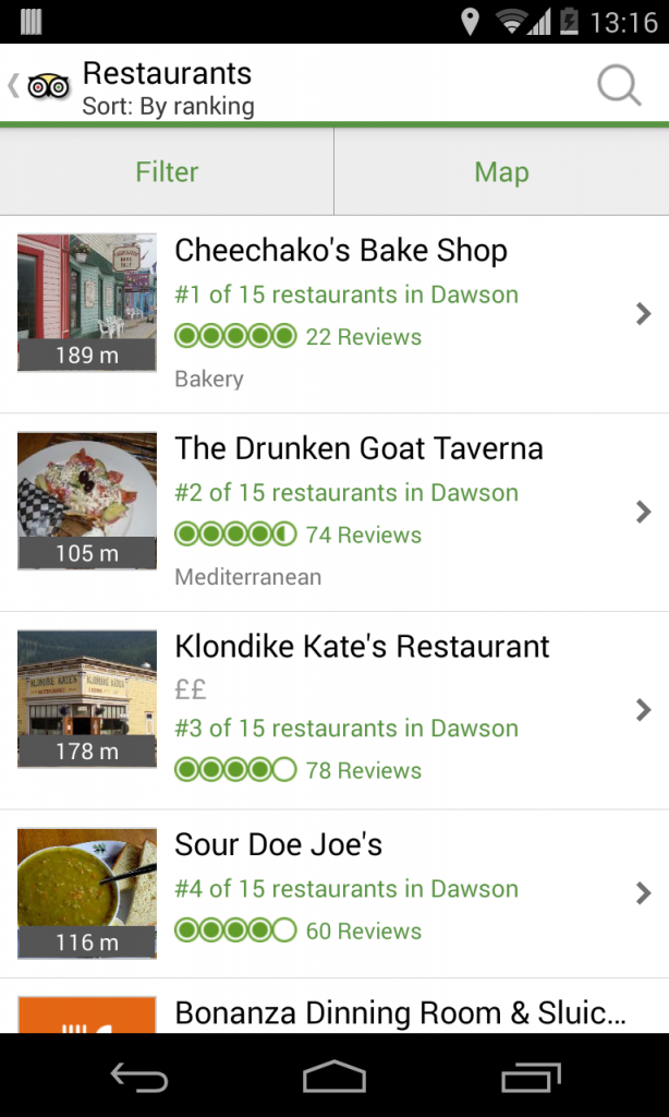 TripAdvisor app gives you the same information as the website, but uses less mobile data