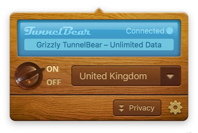 Tunnel Bear dialog box from OS X. VPN tunnelling tool for Mac.